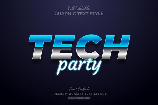 Tech party gradient editable premium text effect font style