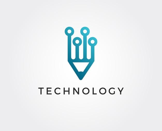 Шаблон логотипа tech pen