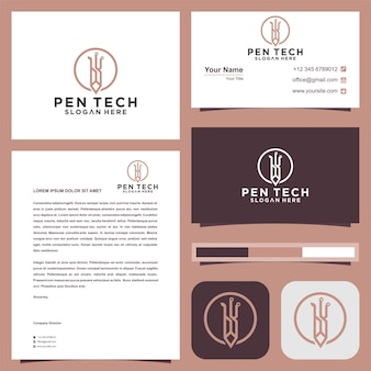 Tech pencil logo premium vector  and business card