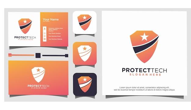 기술 보호 방패 별 로고 디자인