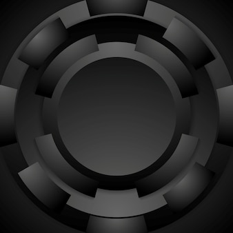 Технология круглой формы абстрактного фона. черный дизайн. векторная иллюстрация