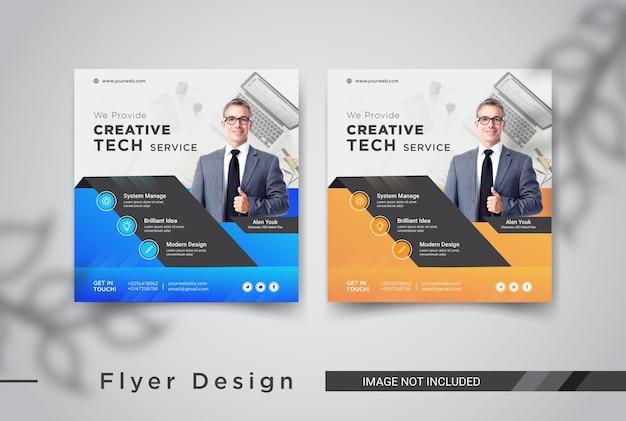 Tech service social media post template design