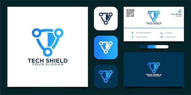 Tech sheild logo design and business card