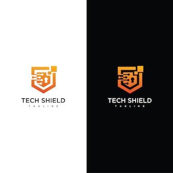 Tech shield logo design vector template