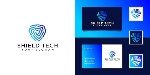 Tech shield security logo design template and business card