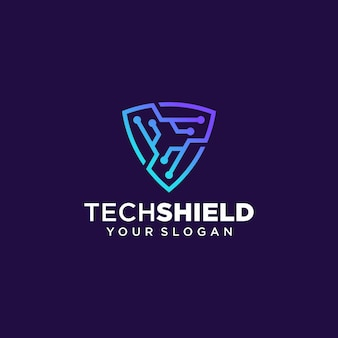 Tech shield логотип дизайн вектор шаблон