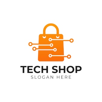 Tech shop logo concept online shop logo designs template