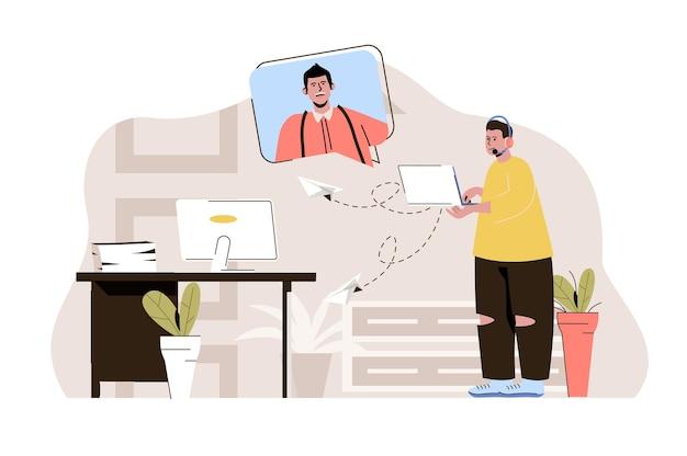 Колл-центр оператора концепции техподдержки консультирует мужчину в видеочате