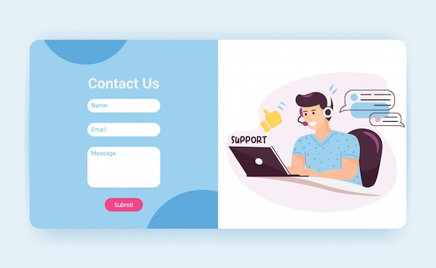 Tech support landing page template with contact us form. customer service operator with headset talking to client, website mockup. cartoon illustration