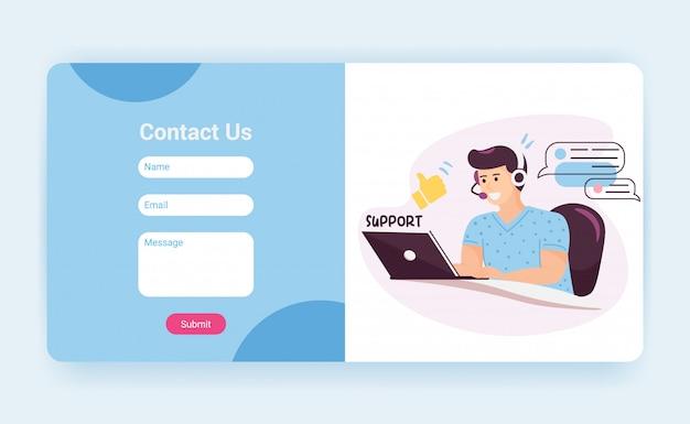 문의 양식이 포함 된 기술 지원 방문 페이지 템플릿입니다. 클라이언트, 웹 사이트 모형과 이야기하는 헤드셋을 사용하는 고객 서비스 운영자. 만화 그림