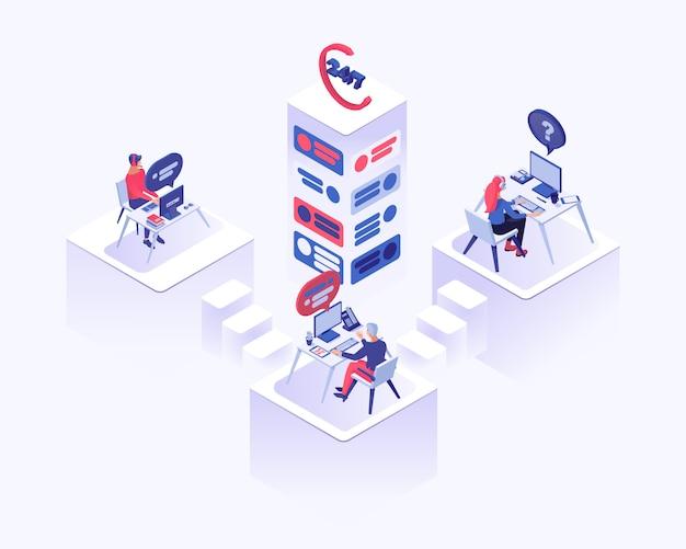 Техподдержка, офисные работники с гарнитурой сидят за столом
