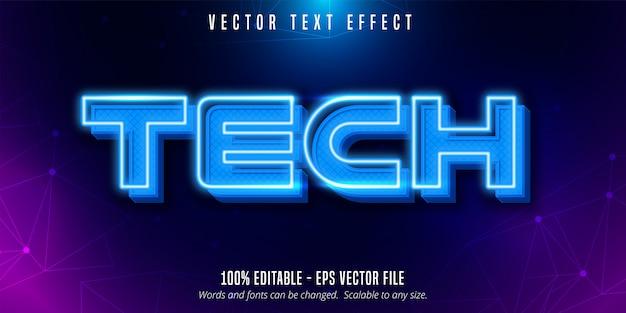 Технический текст, редактируемый текстовый эффект в неоновом стиле