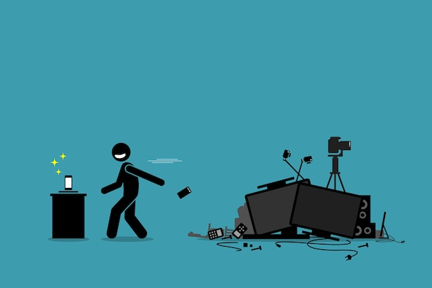 Tech trash problem. artwork depicts a man throwing away old phone and other outdated devices to pursue newest technology and gadget.