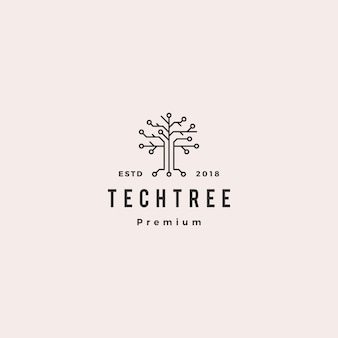 Tech tree electrical circuit digital logo vector icon