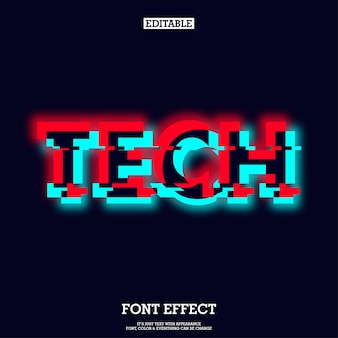 Tech typeface with glowing and glitch effect
