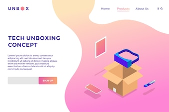 Tech VR unboxing isometric vector illustration of box phone tablet landing page