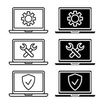 기술 지원 아이콘입니다. 노트북 컴퓨터의 간단한 평면 기호입니다. 방패와 지원 기호가 있는 노트북 모니터입니다. 온라인 고객 보증 서비스. 아웃소싱 지원 기호. 벡터