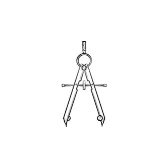 기술 나침반 손으로 그린 개요 낙서 아이콘입니다. 인쇄, 웹, 모바일 및 인포그래픽을 위한 형상 벡터 스케치 그림에서 원을 그리기 위한 조정 손잡이가 있는 열린 나침반.