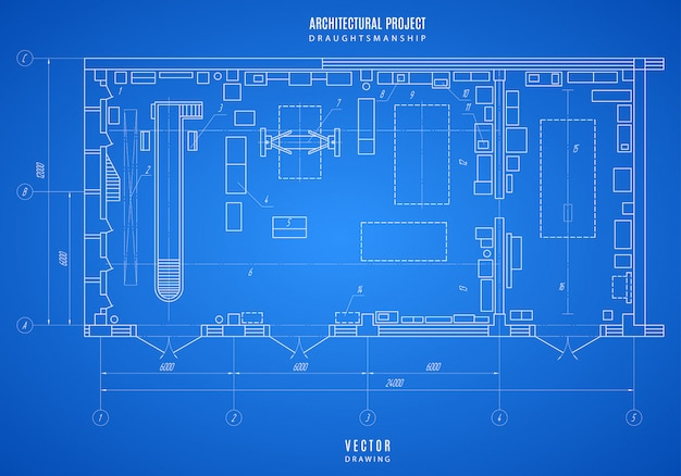 Technical drawing of blueprint an architectural design or construction project on blue background