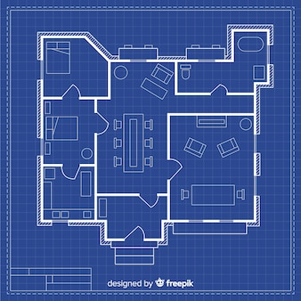 Technical drawing of a house with blueprint