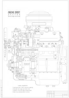 Technical drawing of the internal combustion engine, construction project or plan isolated on the white .