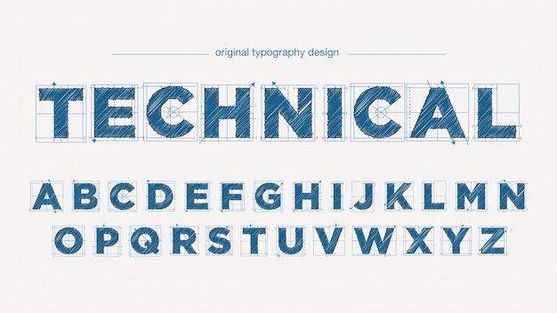 Technical drawing style typography design