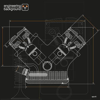 テクニカルイラスト。図面の機械工学。技術設計用。ブラック