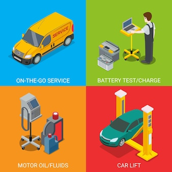 Technical inspection car service   set. isometric checking vehicle web site illustration. battery test charge motor oil fluid car lift computer automatic diagnostic on colour background.