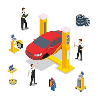 技術検査赤い車のサービステンプレート。等尺性チェック車両のwebサイトの図。白い背景の上の赤い車のホイールタイヤゴムコンピューター自動診断インフォグラフィック。