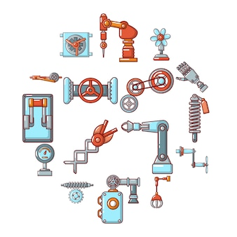 Technical mechanisms icon set, cartoon style