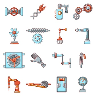 Technical mechanisms icons set