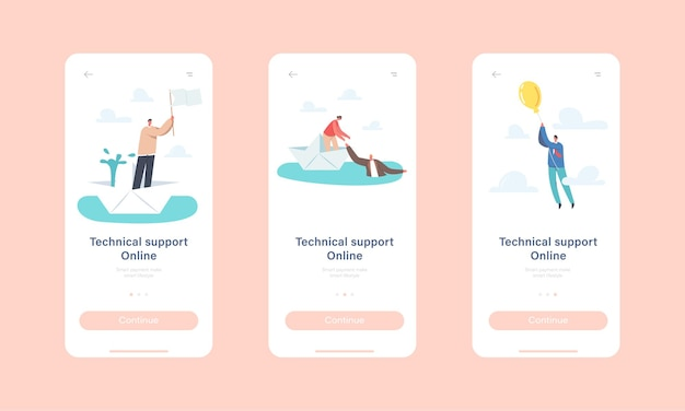 Technical online support mobile app page onboard screen template. characters floating paper boat with leakage, woman save man in ocean, flying on balloon concept. cartoon people vector illustration