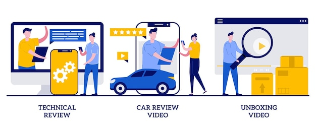 Technical review, car review video, unboxing video concept. set of product client feedback.