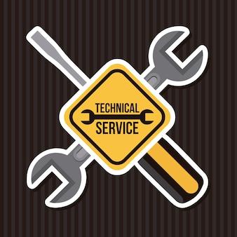 Technical service over black background vector illustration