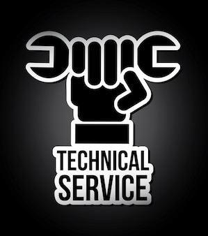 Technical service over black background