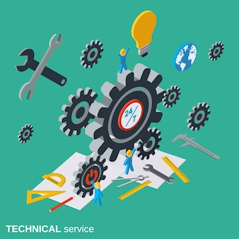 Technical service flat isometric vector concept illustration