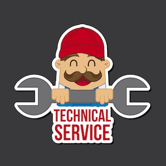 Technical service icon over black background