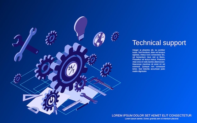 Technical service, online customer support flat isometric concept illustration