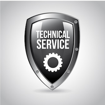 Technical service shield over gray background