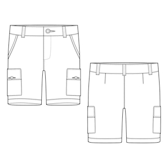 Technical sketch army shorts pants template.