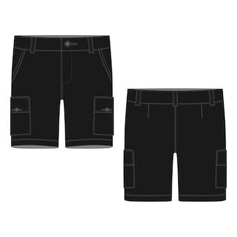 テクニカルスケッチブラックカーゴショーツパンツデザインテンプレート。カーゴパンツ。白い背景の上のファッションベクトルイラスト