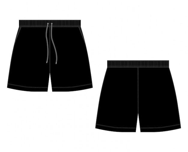 Технический эскиз черные спортивные шорты брюки на белом фоне