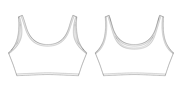 Technical sketch of bra for girls isolated. yoga underwear design template