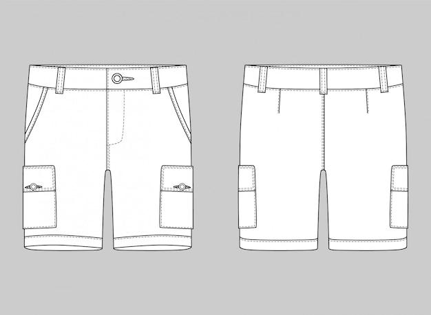 Technical sketch cargo shorts pants