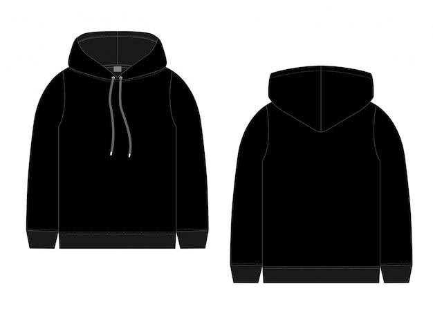 メンズブラックパーカーのテクニカルスケッチ。正面および背面図テクニカルドローイング子供服。スポーツウェア、カジュアルな都会的なスタイル。