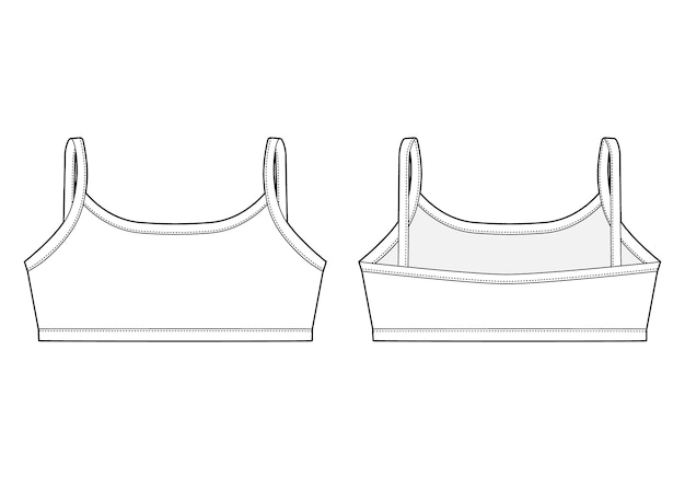 Technical sketch girl bra. women's underwear top design template.