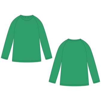 Technical sketch of green color raglan sweatshirt. casual clothes for childrens wear jumper design template.