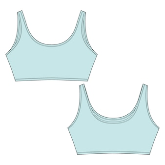 Technical sketch of light blue color sport bra. casual clothes for girls isolated on white background.