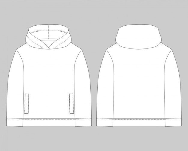 Technical sketch for men hoodie