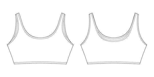 分離された女の子のためのブラのテクニカルスケッチ。ヨガ下着のデザインテンプレート